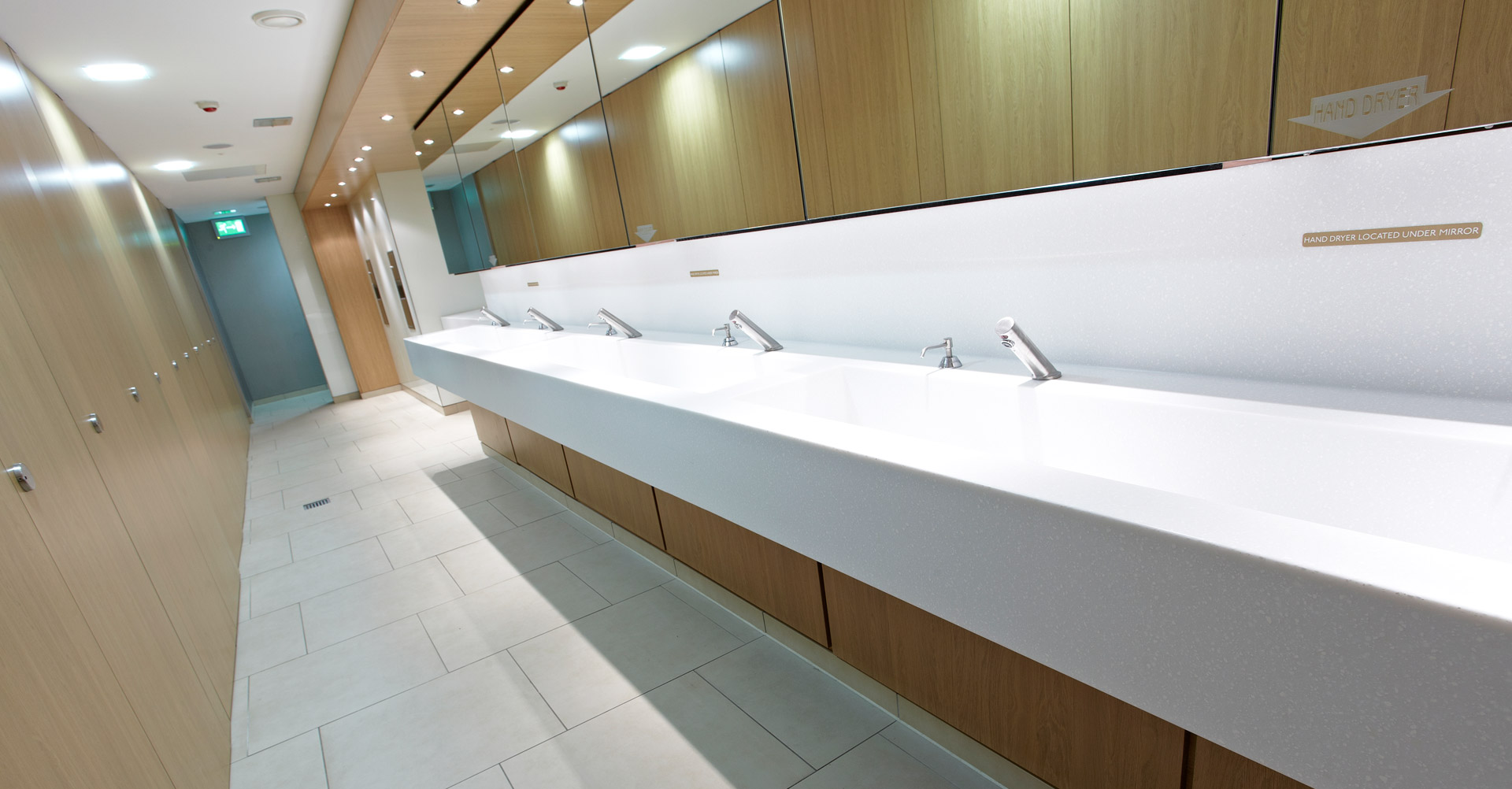 The sinks in the washroom