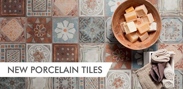 bowl of soap ontop of patterned porcelain tiles