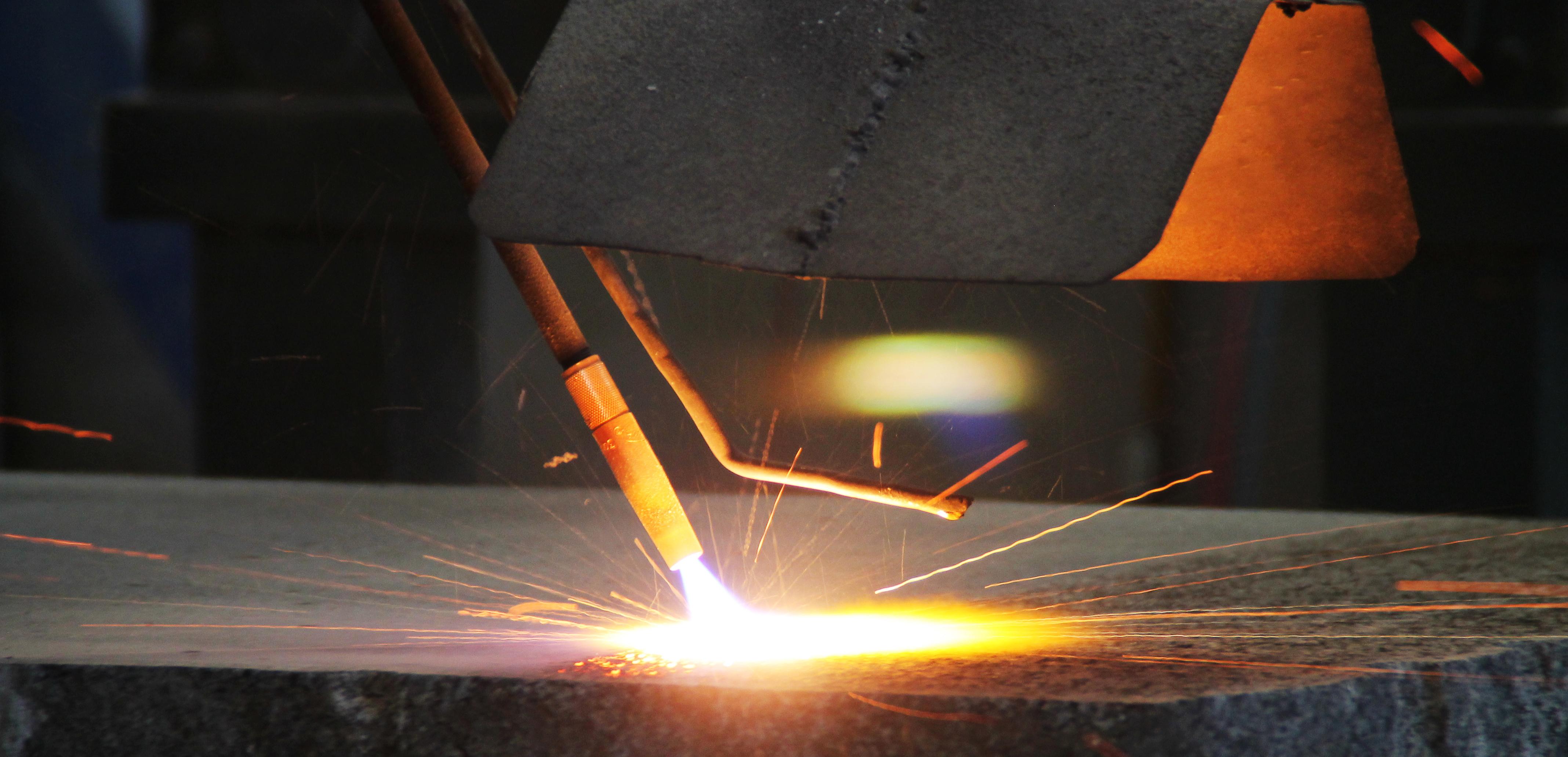 The Granite slabs being flamed