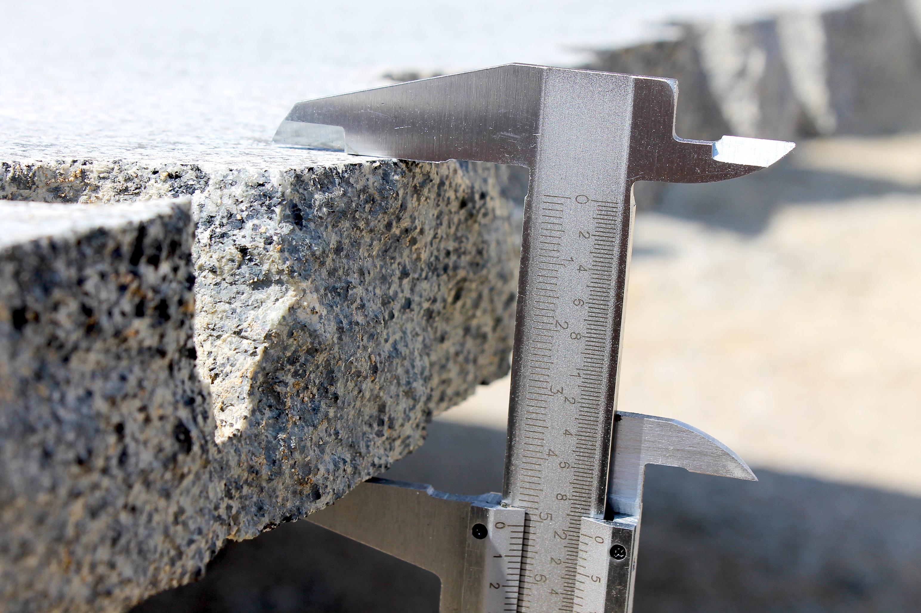 Fired granite Slabs being measured