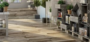 forest porcelain wood flooring with decorative shelves