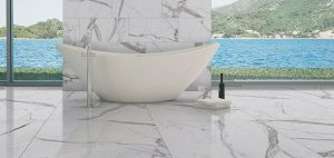 marble bathroom looking out at lake