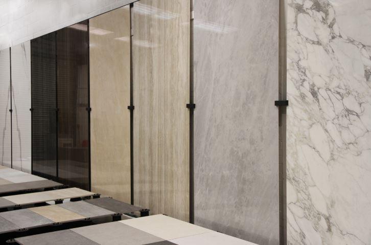 marble panels on display