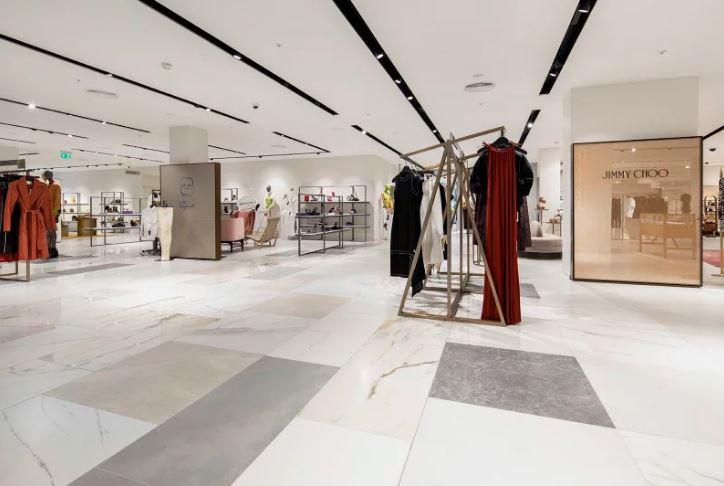 clothing rails on porcelain tile floors