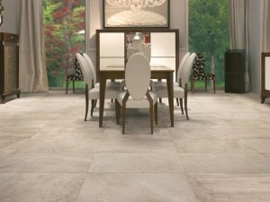 Porcelain Tile Agrarian Caramel in a Dining Area