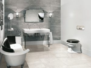 Grey detailed porcelain tile as a feature bathroom wall