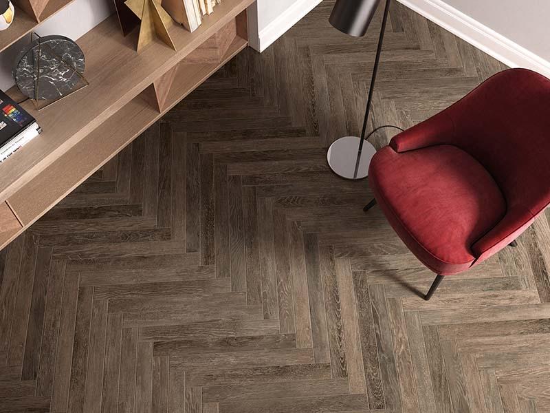 Kinorigo – Westwood Delamere – herringbone pattern – study area