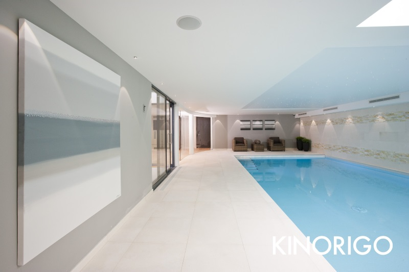 clean white indoor pool area