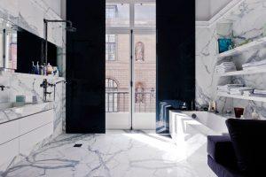 black and marble bathroom