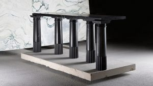 black marble semi circle dining table