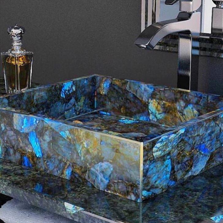 labradorite basin with metal tap