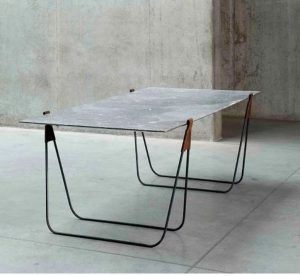 thin marble dining table on metal legs