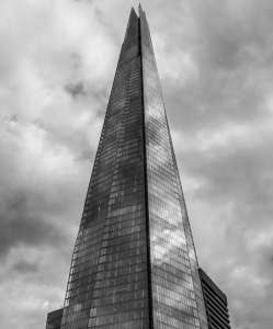 london shard building black and white