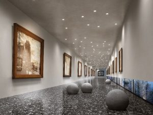 pazzo porcelain floor tiles in long gallery