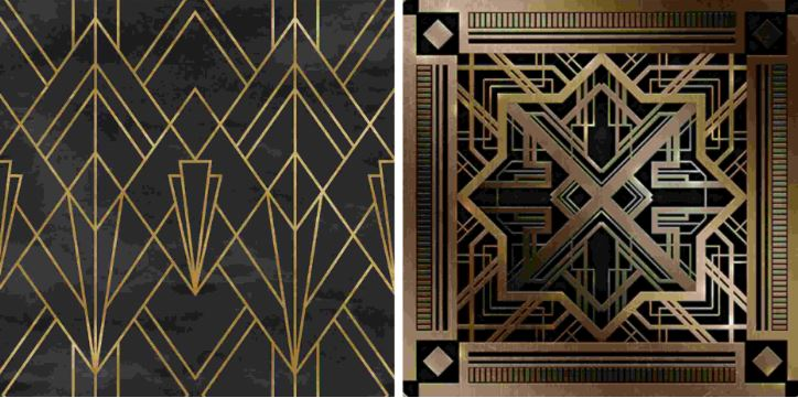 black and gold art deco geometry examples