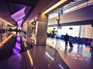 airport with porcelain tiles and coloured lighting