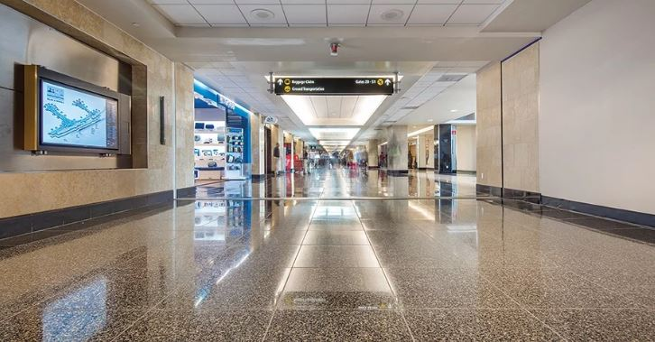 airport corridor with tiles