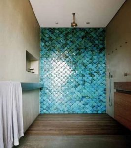 wet room with bright turquoise tiles