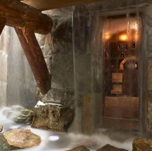 wet room inside cave with waterfall