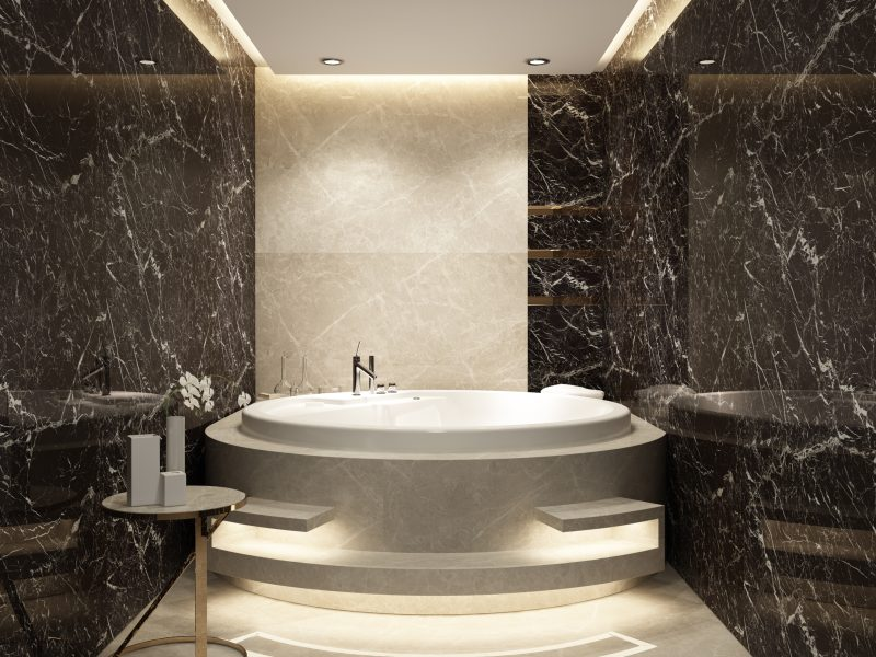 round bath in marble bathroom
