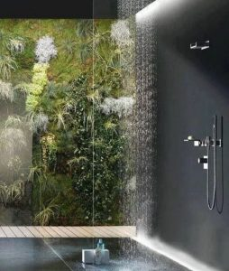 walk in shower with plant wall
