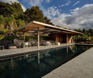 black granite outdoor pool area on cliff side